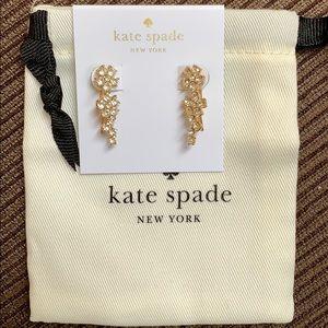 Kate spade flower ear pins clear/gold